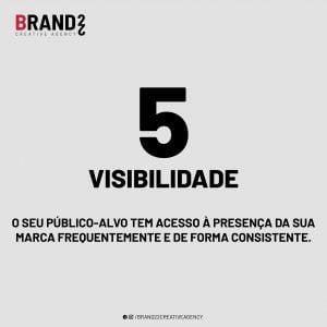 Visibilidade: O seu público-alvo tem acesso à presença da sua marca frequentemente e de forma consistente.